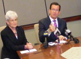Conn. Governor Dannel Malloy (on right), and Lt. Governor Nancy Wyman, during a visit to Sikorsky Aircraft in Startford on Friday August 22, 2014.