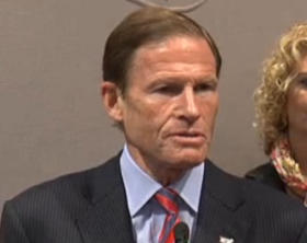 U.S. Senator Richard Blumenthal of Connecticut, speaking against the proposed CL&P rate increase in Hartford on Tuesday, Aug. 26, 2014.