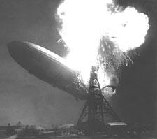 German airship Hindenburg burning at Lakehurst Naval Station, NJ, May 6, 1937