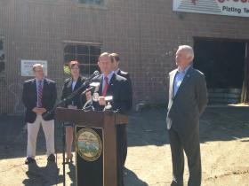 U.S. Senator Richard Blumenthal speaks at the Progressive Plating site in Bridgeport
