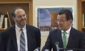Education Commissioner Stefan Pryor (left) and Governor Dannel Malloy in New Britain on Thursday, Aug. 21, 2014