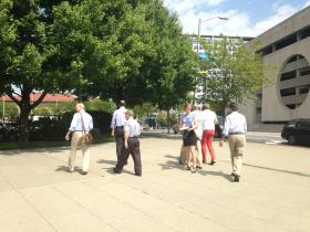 City planners and community advocates tour downtown Stamford on Wednesday