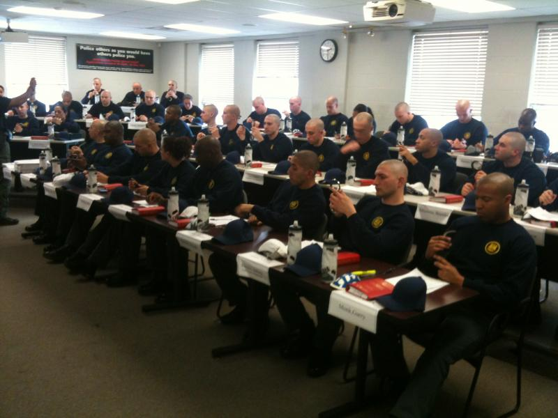 Student officers in class at the New Haven Police Academy