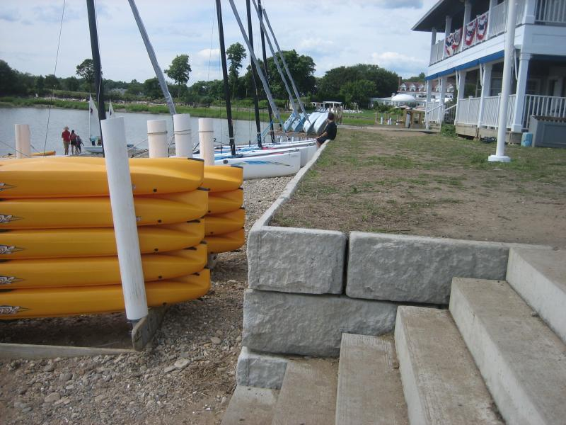 A wall in Westport that washed away during Tropical Storm Irene and was replaced with concrete blocks. During Superstorm Sandy, the whole top layer came off and it was rebuilt again using reinforing rods and better mortar.