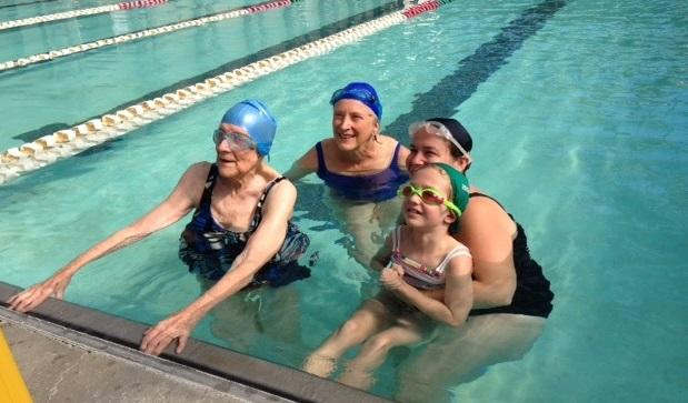 Margaret Wachs was joined in the water by her daughter Elaine Matto, granddaughter Amy Weintraub, and great granddaughter Natalie Johaneson.