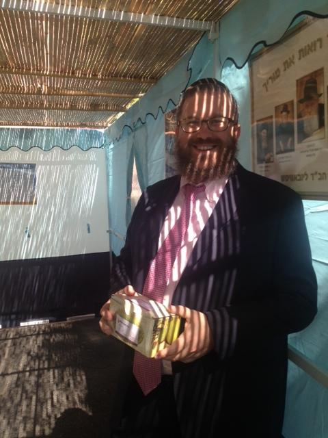 Rabbi Levi Stone of Schneerson Center of Westport inside the sukkah in Norwalk.