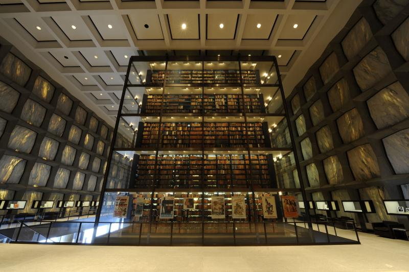 Six stories of rare books and manuscripts behind glass at Beinecke Library