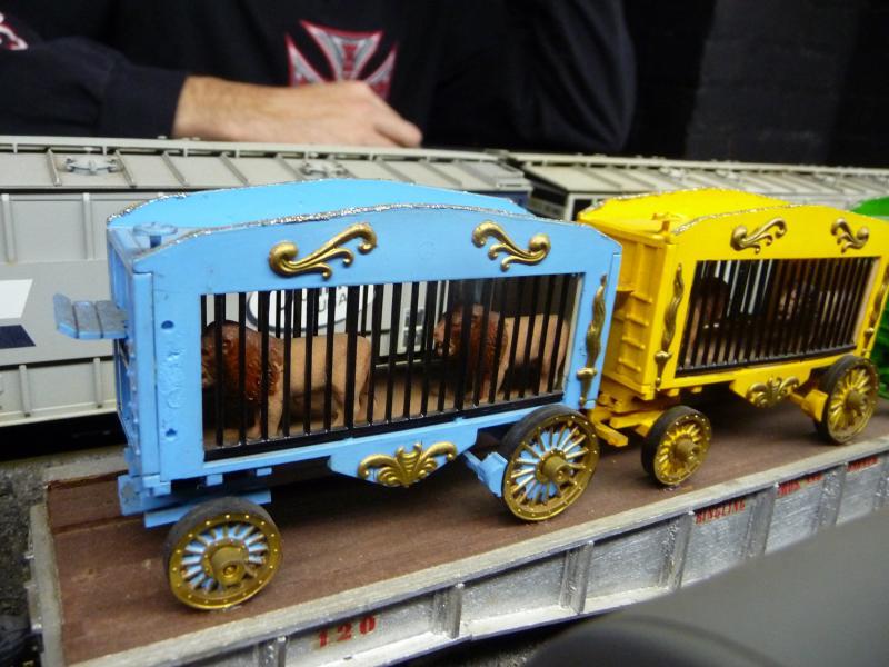 Circus trains at the Stamford Model Railroad Club display