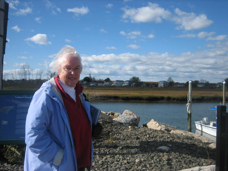 Judie Fine with the salt marsh in background