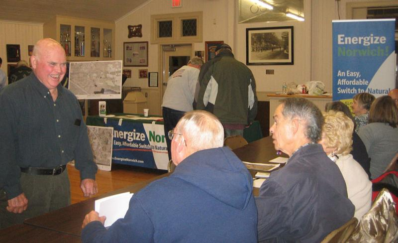 Meeting in the firehouse in the Yantic section of Norwich, to educate residents about heating with natural gas