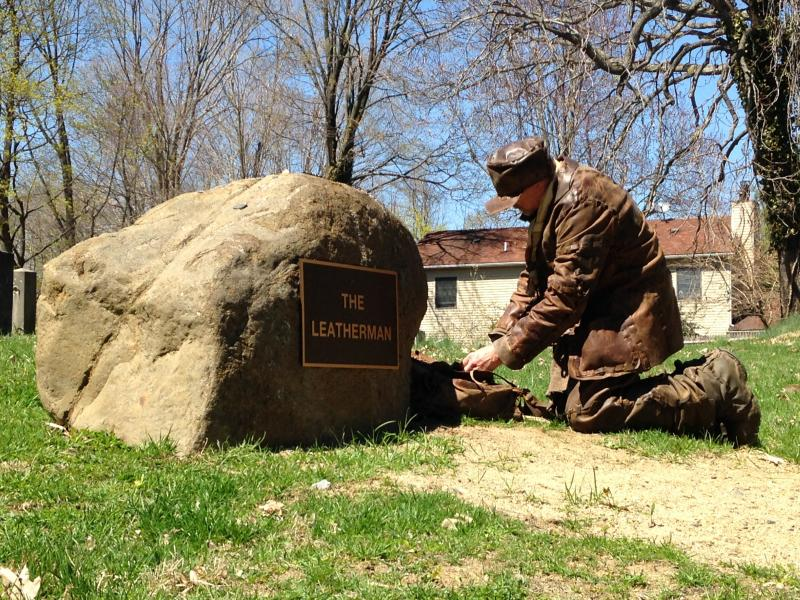 Russ Schneider at the Leatherman's grave in Ossining, NY
