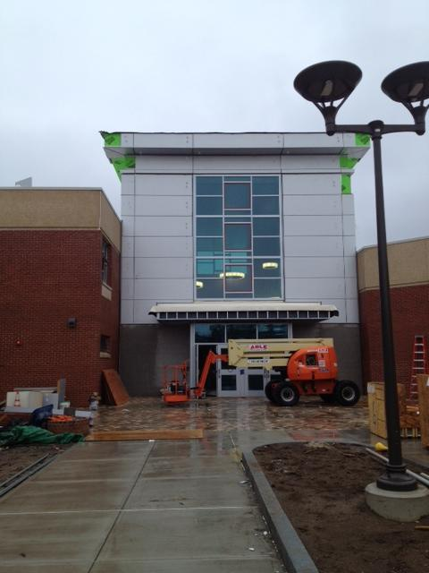 An entrance to the new J.M. Wright Technical High School in Stamford, Conn.