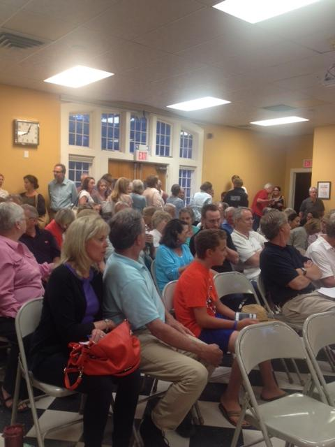 Residents in Rowayton, Conn. gather to hear about 1 Nearwater Road at a meeting of the Sixth Taxing District of Norwalk.