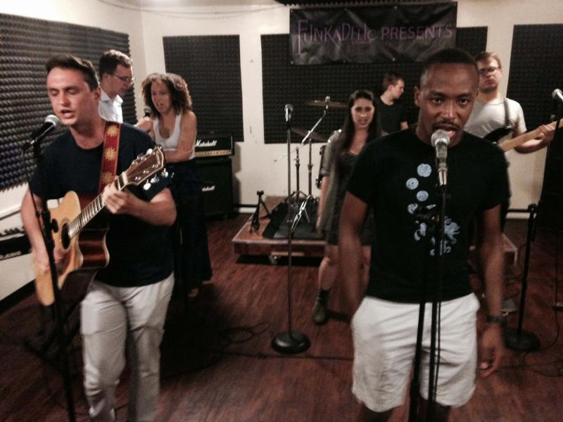 """Cast members rehearse """"Guns: A Cabaret"""" in New York City on Monday evening"""