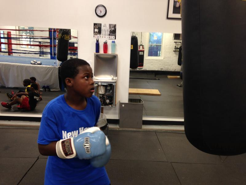 Hitting the bag at Elephant in the Room Boxing Club