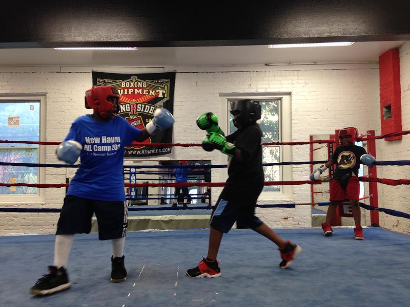 Young boxers in the ring at Elephant in the Room Boxing Club in New Haven (CLICK PHOTO FOR SLIDESHOW)