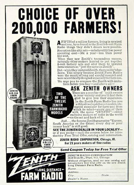 The Farm Radio Wshu. Magazine Advertisement For Zenith Farm Radios. Wiring. Zenith Tube Radio Schematics Model 6s At Scoala.co