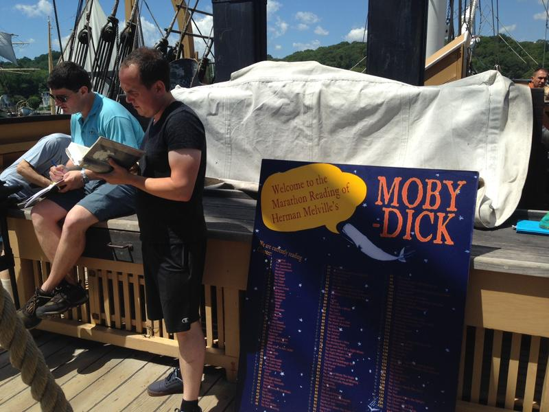 From noon on Friday, July 31, to noon on Saturday, August 1, volunteers sign up to read a chapter of Moby Dick on the deck of the Charles W. Morgan.
