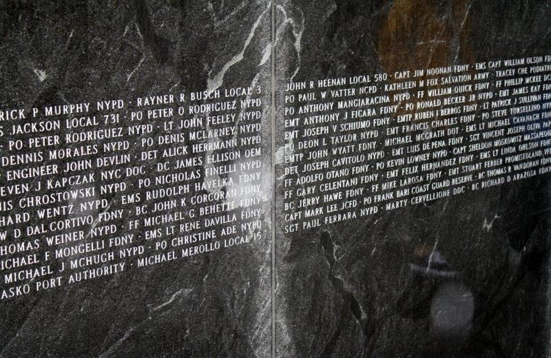 A closer view of some of the names on the memorial at 9/11 Responders Remembered Park, taken at 2014's ceremony.