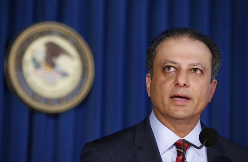 U.S. Attorney Preet Bharara speaks to reporters during a news conference in June in New York.