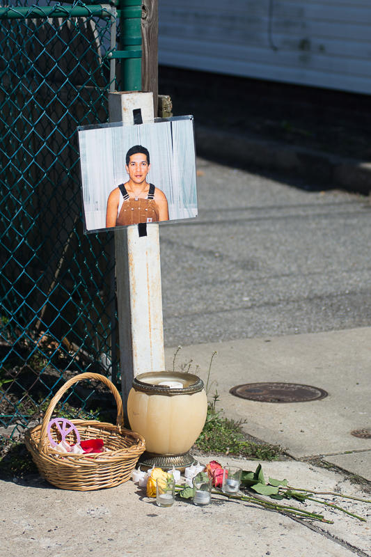 A vigil for Marcelo Lucero was held down the block from the Emporium in Patchogue, Long Island on Thursday, April 14, 2016. Inside the Emporium, a fundraiser for Presidential Candidate Donald Trump was being held.