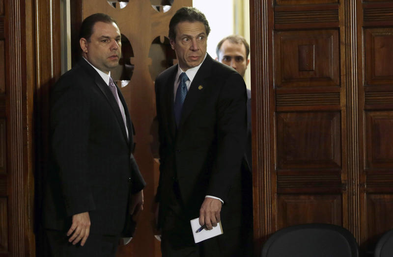 Gov. Andrew Cuomo and aide Joseph Percoco in Albany in 2013. A federal investigation of two former Cuomo aides, including Percoco, threatens to taint the governor's economic development efforts even as it adds to Albany's reputation for insider dealing.