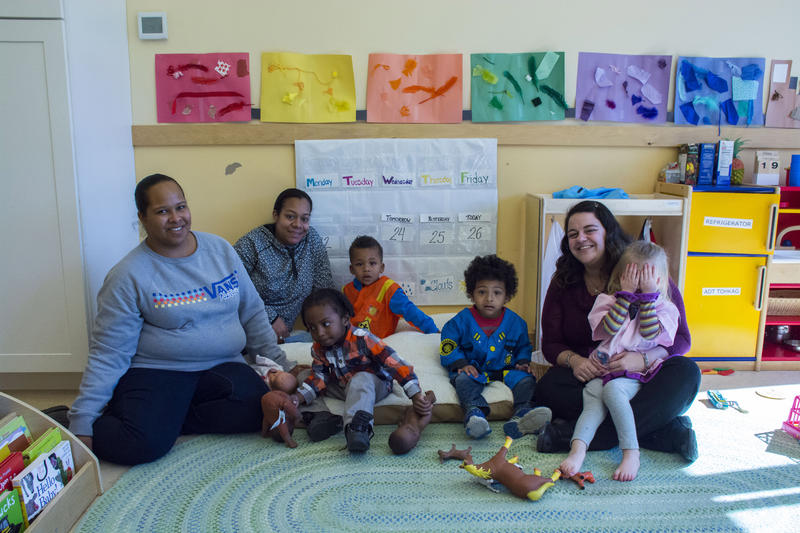 Students and teachers at the Wuneechanunk Shinnecock Preschool in Southampton, Long Island.
