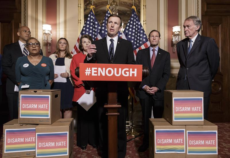 Sen. Chris Murphy, D-Conn., center, and other Democratic senators call for gun control legislation in the wake of the mass shooting in an Orlando LGBT nightclub at the Capitol in Washington in 2016.
