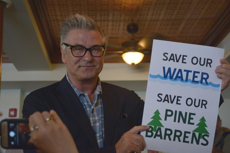 Actor Alec Baldwin was one of about 100 Suffolk County residents who demonstrated against a proposed golf course development on Wednesday night in Riverhead.