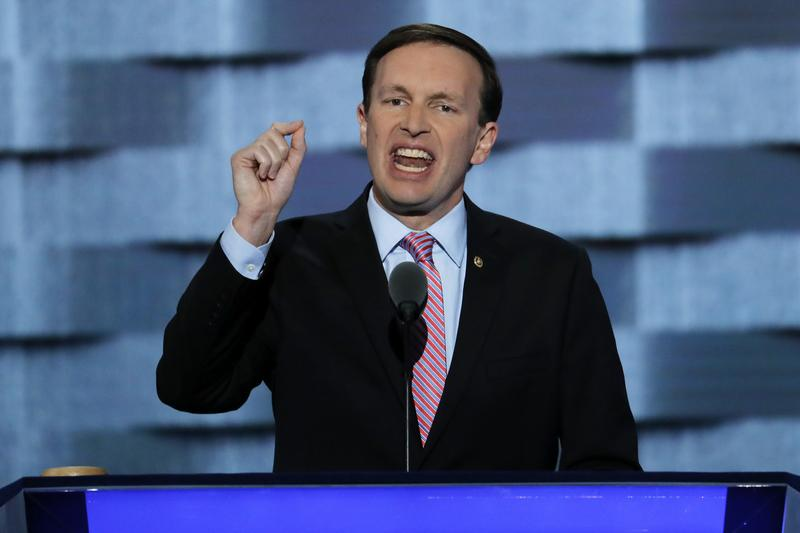 Sen. Chris Murphy, D-Conn., speaks during the third day of the Democratic National Convention in Philadelphia on Wednesday,