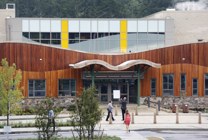 The lobby of the new Sandy Hook Elementary School is open for a media open house, Friday, July 29, 2016, in Newtown, Conn. The public is getting its first look at the school which will replace the one torn down after a gunman entered it in December 2012 a