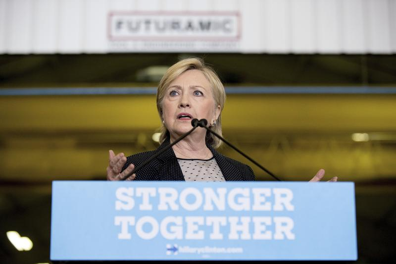 Democratic presidential candidate Hillary Clinton gives a speech on the economy in Warren, Mich. on Thursday.
