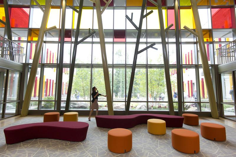 The lobby of the new school during a media open house at the end of July.