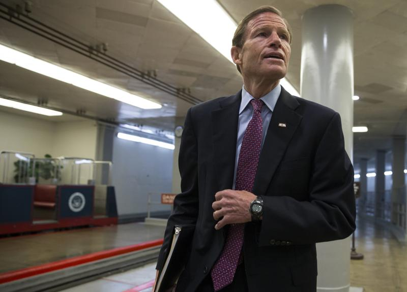 Senator Richard Blumenthal, D-Conn., on his way to the Senate chamber on Capitol Hill in Washington, D.C., in June.