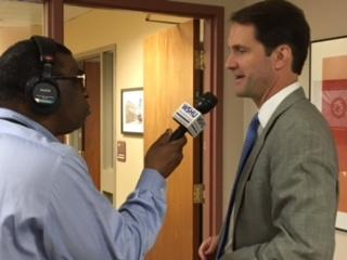 Congressman Jim Himes, D-CT4, being interviewed by WSHU Senior Political Reporter Ebong Udoma on Monday at Sacred Heart University in Fairfield, Conn.