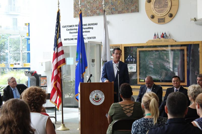 Governor Malloy spoke about the state's response to the opioid crisis earlier in the day in Stamford.
