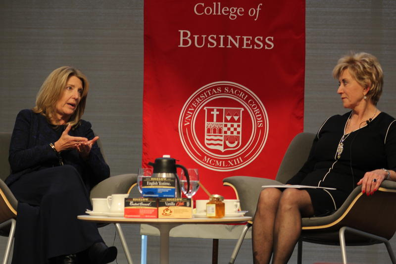 Bigelow Tea President and CEO Cindi Bigelow, left, speaks with Linda McMahon, former president and CEO of WWE, at Sacred Heart University on Thursday.