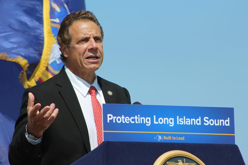 New York Gov. Andrew Cuomo speaks at an event at Sunken Meadow State Park in Kings Park, N.Y., in August. Cuomo said the state would consider legal action if federal officials proceed with plans to expand dumping sites.