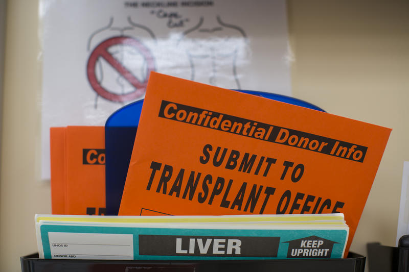 Organ donation paperwork at Mid-America Transplant Services in St. Louis.