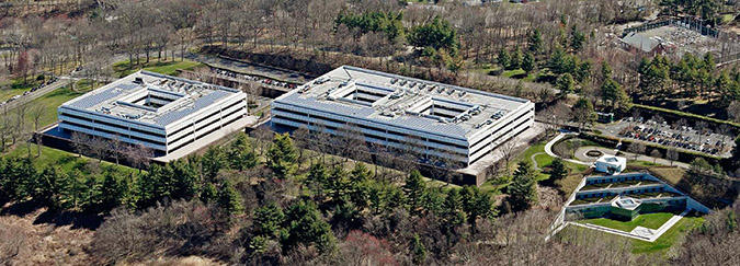 An aerial view of the former global headquarters of General Electric in Fairfield, Conn. Sacred Heart University entered into an agreement to purchase the 66-acre campus last week.