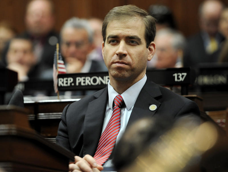 Hartford Mayor Luke Bronin listens to Connecticut Gov. Dannel P. Malloy's budget address at the State Capitol in Hartford in February.