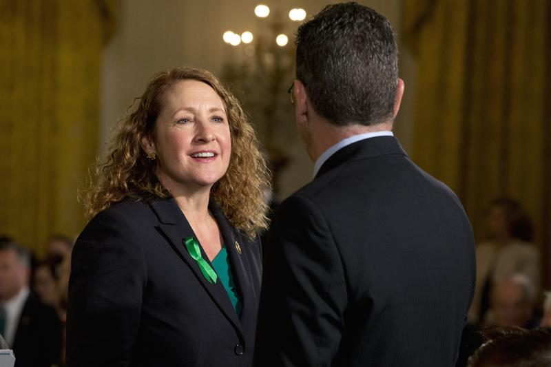 Rep. Elizabeth Esty, D-Conn., left, speaks with Connecticut Gov. Dannel Malloy, in the East Room of the White House in Washington in January about steps his administration is taking to reduce gun violence.