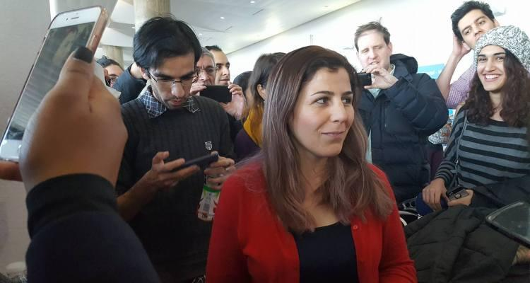Vahideh Rasekhi, a doctoral student at Stony Brook University, speaks to the media after being held at John F. Kennedy Airport for over 24 hours. An Iranian citizen, Rasekhi has lived in the U.S. for over 10 years.