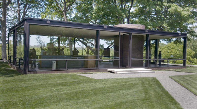 An exterior view of the glass house in new canaan conn