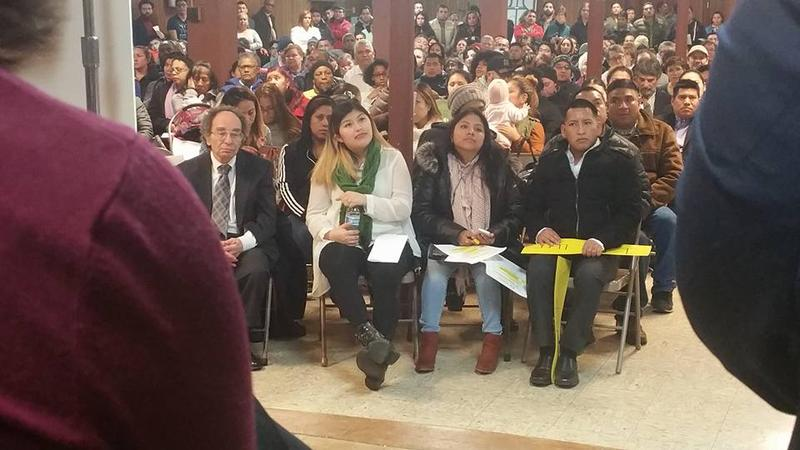 """Hundreds attended a """"solidarity gathering"""" at St. Rose of Lima Catholic Church in New Haven on Tuesday."""