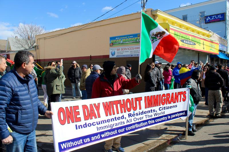"Hundreds came out in Bridgeport to march in solidarity with the nationwide ""Day without Immigrants"" on Thursday."