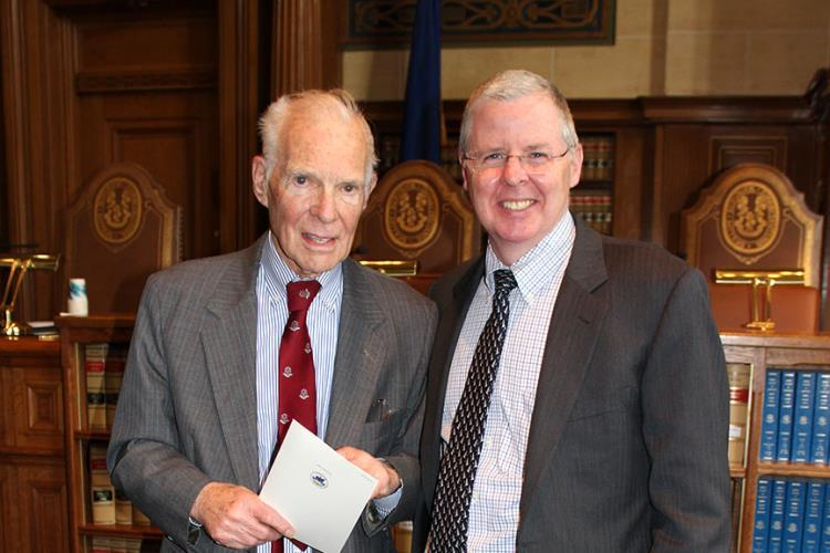 Chrisotpher Collier, vice president of the Connecticut Supreme Court Historical Society, and Gregory D'Auria, chief appellate litigator in the state Attorney General's office.