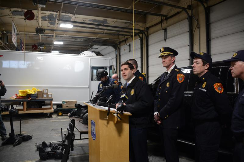 On Tuesday, the Suffolk County Police Department announced its purchase of three robots, three rapid deployment bomb vehicles and 15 pairs of night vision goggles.
