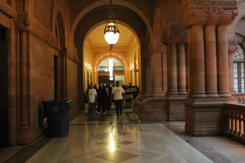 Protestors heading toward Gov. Andrew Cuomo's office at the state Capitol on Tuesday.