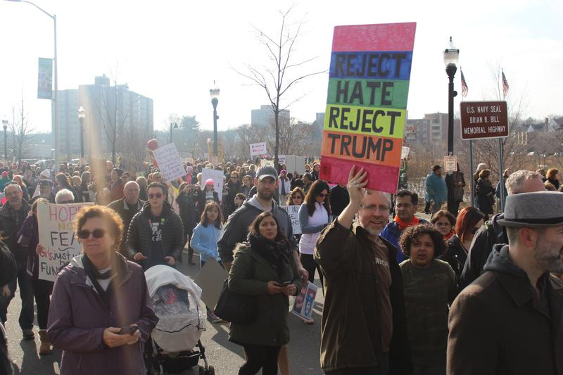 Protestors march in Stamford, Conn., on January 21, 2017, the day after Donald Trump's presidential inauguration. The Stamford march was one of hundreds of sister marches to the Women's March held on the same day in Washington, D.C.